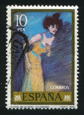 SPAIN - CIRCA 1978: stamp printed by Spain, shows The finish of show (Pablo Ruiz Picasso), circa 1978 Stock Photo - 16223740