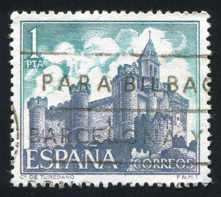 SPAIN - CIRCA 1969: stamp printed by Spain, shows Castle Turegano, Segovia, circa 1969 Stock Photo - 16223748