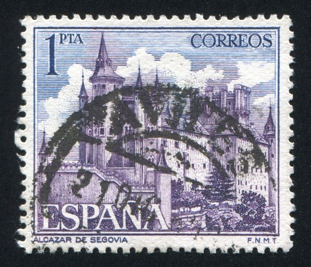 SPAIN - CIRCA 1985: stamp printed by Spain, shows Castle Alcazar of Segovia, circa 1985 Stock Photo - 16223842