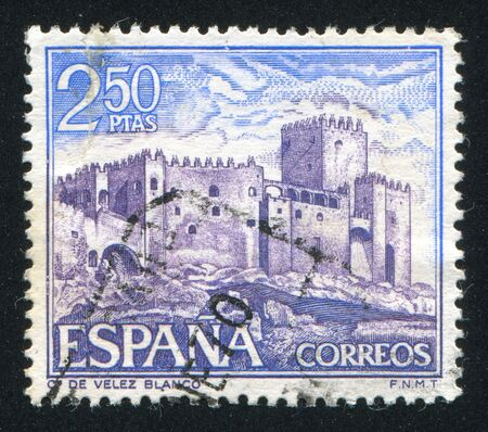 SPAIN - CIRCA 1969: stamp printed by Spain, shows Castle Velez Blanco, circa 1969 Stock Photo - 16223927