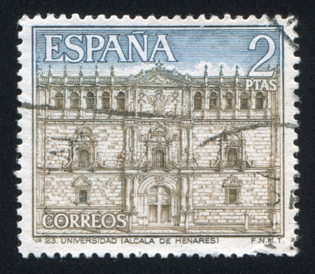 SPAIN - CIRCA 2001: stamp printed by Spain, shows University and historic Precinct of Alcala de Henares, circa 2001 Stock Photo - 16223788