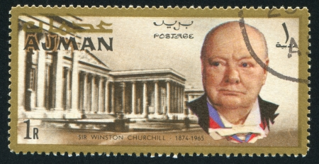 AJMAN - CIRCA 1976: stamp printed by Ajman, shows Winston Churchill and Parliament, circa 1976 Stock Photo - 16285447