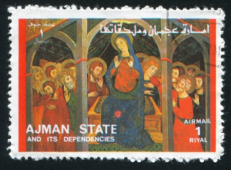 AJMAN - CIRCA 1976: stamp printed by Ajman, shows Virgin Mary, circa 1976