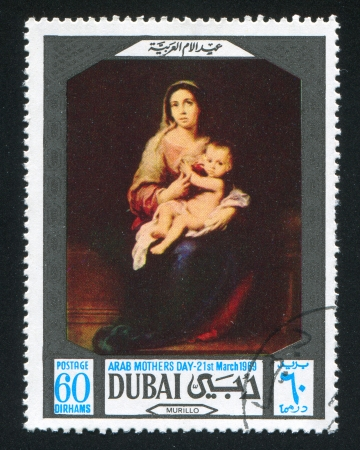 DUBAI - CIRCA 1969: stamp printed by Dubai, shows Madonna and Child by Murillo, circa 1969