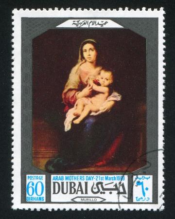 murillo: DUBAI - CIRCA 1969: stamp printed by Dubai, shows Madonna and Child by Murillo, circa 1969