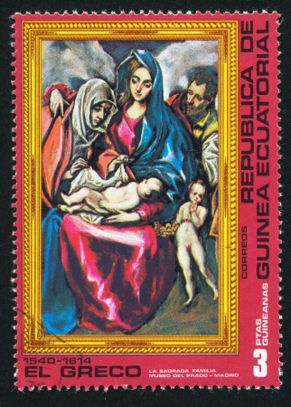 EQUATORIAL GUINEA - CIRCA 1972: stamp printed by Equatorial Guinea, shows La Sagrada Familia by El Greco, circa 1972