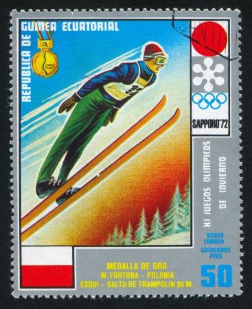 olympic ring: EQUATORIAL GUINEA - CIRCA 1972: stamp printed by Equatorial Guinea, shows Ski Jumping, circa 1972