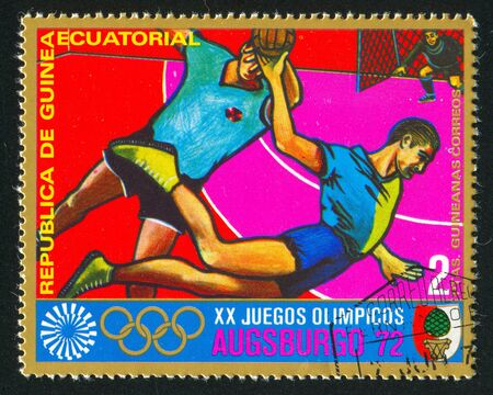 EQUATORIAL GUINEA - CIRCA 1972: stamp printed by Equatorial Guinea, shows Team Handball, circa 1972 Stock Photo - 16285128
