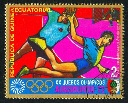 EQUATORIAL GUINEA - CIRCA 1972: stamp printed by Equatorial Guinea, shows Team Handball, circa 1972 Stock Photo - 16285128