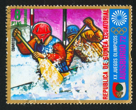 starboard: EQUATORIAL GUINEA - CIRCA 1972: stamp printed by Equatorial Guinea, shows Pair rowing, circa 1972