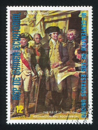 EQUATORIAL GUINEA - CIRCA 1976: stamp printed by Equatorial Guinea, shows the Siege of Yorktown, Washington and Roshambeau, circa 1976 Stock Photo - 16285173