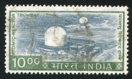 atomic center: INDIA - CIRCA 1965: stamp printed by India, shows Trombay Atomic Center, circa 1965