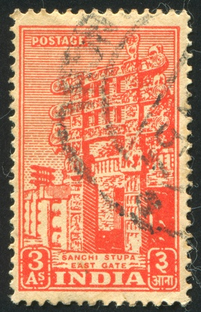 sanchi stupa: INDIA - CIRCA 1949: stamp printed by India, shows Sanchi Stupa, circa 1949