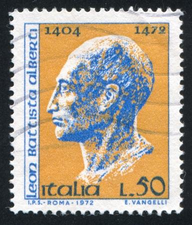 cara leon: ITALIA - CIRCA 1972: sello impreso por Italia, muestra Le�n Batista Alberti, alrededor del a�o 1972
