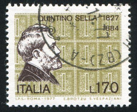 ITALY - CIRCA 1977: stamp printed by Italy, shows Quintino Sella, circa 1977 Stock Photo - 16285086