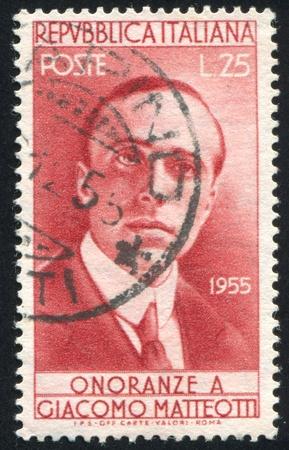 ITALY - CIRCA 1955: stamp printed by Italy, shows Giacomo Matteotti, circa 1955 Stock Photo - 16285009