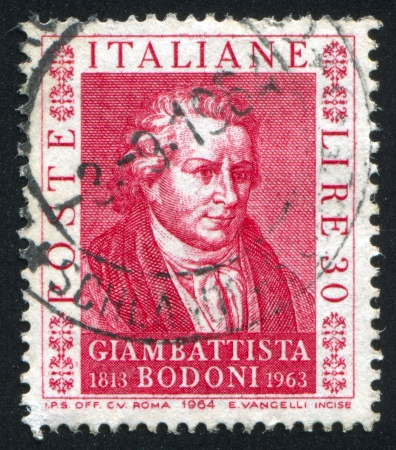 issuer: ITALY - CIRCA 1964: stamp printed by Italy, shows Giambatista Bodoni, circa 1964
