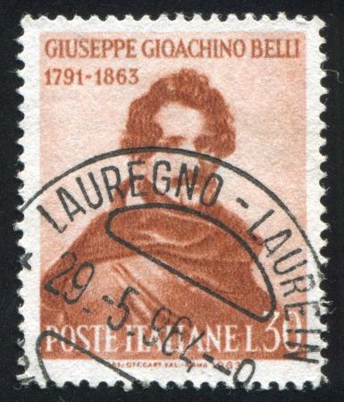 ITALY - CIRCA 1963: stamp printed by Italy, shows Giuseppe Gioachino Belli, circa 1963 Stock Photo - 16285090