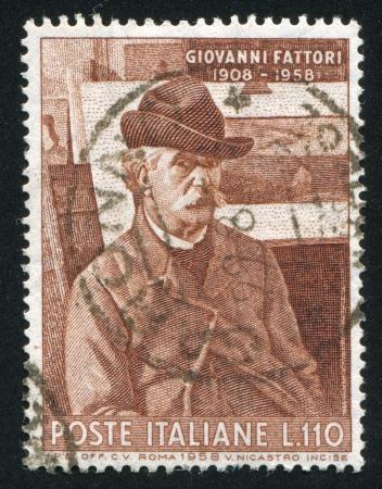 ITALY - CIRCA 1958: stamp printed by Italy, shows Giovanni Fattori, circa 1958 Stock Photo - 16285216