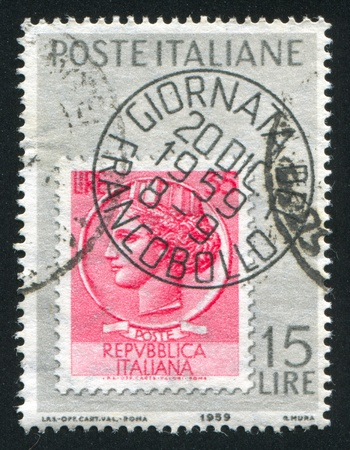 ITALY - CIRCA 1959: stamp printed by Italy, shows Stamp and facsimile cancellation, circa 1959