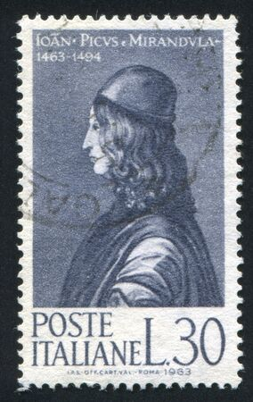 ITALY - CIRCA 1963: stamp printed by Italy, shows Count Giovanni Pico della Mirandola, circa 1963 Stock Photo - 16285049