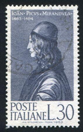 ITALY - CIRCA 1963: stamp printed by Italy, shows Count Giovanni Pico della Mirandola, circa 1963 Stock Photo - 16285049