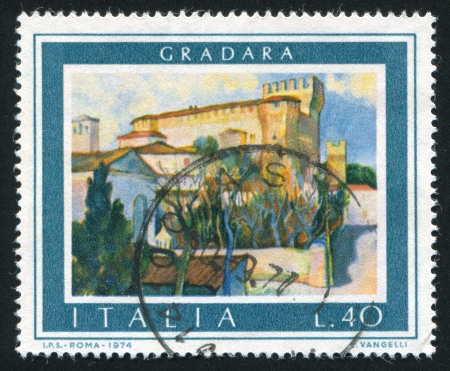 ITALY - CIRCA 1974: stamp printed by Italy, shows Gradara, circa 1974 Stock Photo - 16285071