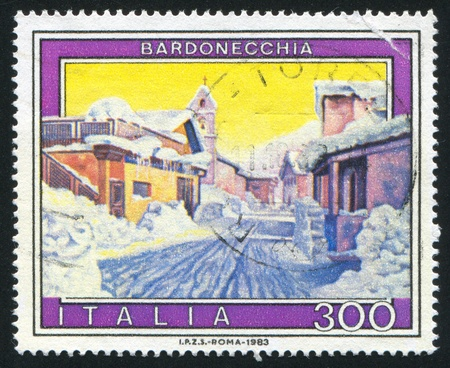 ITALY - CIRCA 1983: stamp printed by Italy, shows Bardonecchia, circa 1983 Stock Photo - 16285374