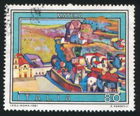 ITALY - CIRCA 1981: stamp printed by Italy, shows Matera, circa 1981 Stock Photo - 16285439