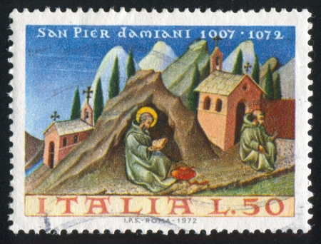 ITALY - CIRCA 1972: stamp printed by Italy, shows Saint Peter Damian by Giovanni di Paoli, circa 1972 Stock Photo - 16285113