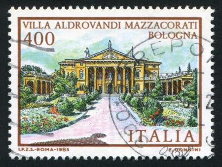 ITALY - CIRCA 1985: stamp printed by Italy, shows Villa Aldrovandi Mazzacorati in Bologna, circa 1985 Stock Photo - 16285118