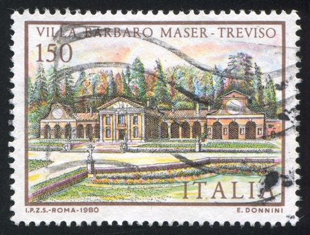 barbaro: ITALY - CIRCA 1980: stamp printed by Italy, shows Villa Barbaro Maser in Treviso, circa 1980 Editorial