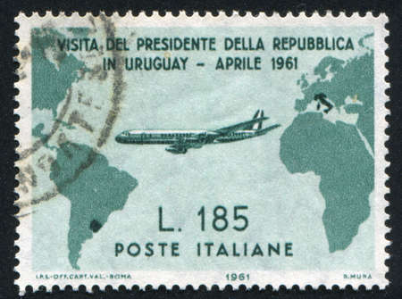 ITALY - CIRCA 1961: stamp printed by Italy, shows Map showing Flight from Italy to Uruguay, circa 1961
