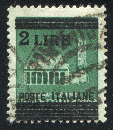 ITALY - CIRCA 1945: stamp printed by Italy, shows Basilica of San Lorenzo in Rome, circa 1945 Stock Photo - 16285075