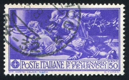 ITALY - CIRCA 1930: stamp printed by Italy, shows Fabrizio Maramaldo killing Ferrucci, circa 1930 Editorial