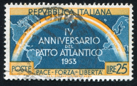 ITALY - CIRCA 1953: stamp printed by Italy, shows Continents joined by rainbow, circa 1953