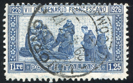 orison: ITALY - CIRCA 1926: stamp printed by Italy, shows Saint Francis Death, circa 1926