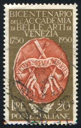 adeptness: ITALY - CIRCA 1950: stamp printed by Italy, shows Arms of the Acdemy of Fine Arts, circa 1950 Editorial