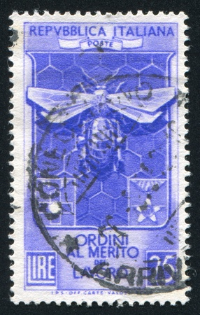 ITALY - CIRCA 1953: stamp printed by Italy, shows Decoration Knights of Labor bee and honeycomb, circa 1953 Stock Photo - 16285122