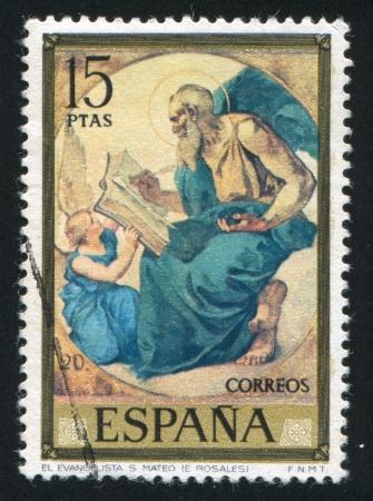 SPAIN - CIRCA 1974: stamp printed by Spain, shows Saint Matthew (Eduardo Rosales), circa 1974
