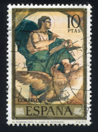 adeptness: SPAIN - CIRCA 1974: stamp printed by Spain, shows Saint John the Evangelist (Eduardo Rosales), circa 1974