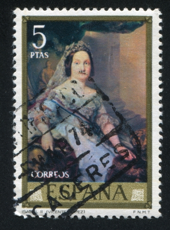 queen isabella: SPAIN - CIRCA 1973: stamp printed by Spain, shows Queen Isabella II (Vicente Lopez), circa 1973