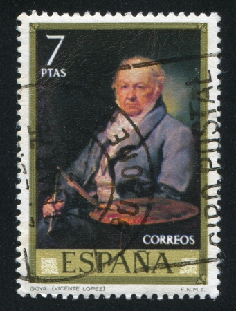 adeptness: SPAIN - CIRCA 1973: stamp printed by Spain, shows Francisco Goya (Vicente Lopez), circa 1973