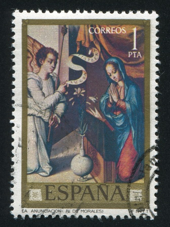 SPAIN - CIRCA 1977: stamp printed by Spain, shows Annunciation (Luis de Morales), circa 1977 Stock Photo - 16285392