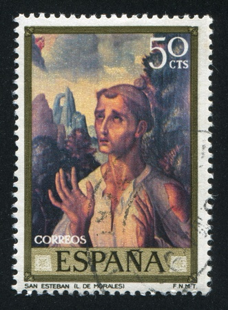 adeptness: SPAIN - CIRCA 1969: stamp printed by Spain, shows Saint Stephen (Luis de Morales), circa 1969