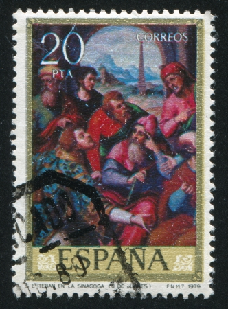 SPAIN - CIRCA 1979: stamp printed by Spain, shows Stephen in the synagogue (Juanes), circa 1979