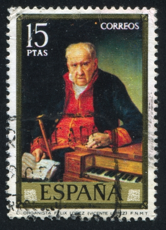 SPAIN - CIRCA 1973: stamp printed by Spain, shows The organist Felix Lopez (Vicente Lopez), circa 1973