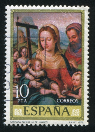 SPAIN - CIRCA 1979: stamp printed by Spain, shows Holy Family (Juanes), circa 1979 Stock Photo - 16285124
