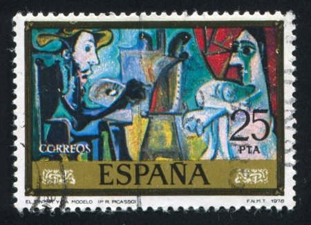 ruiz: SPAIN - CIRCA 1978: stamp printed by Spain, shows Artist and model (Pablo Ruiz Picasso), circa 1978 Editorial