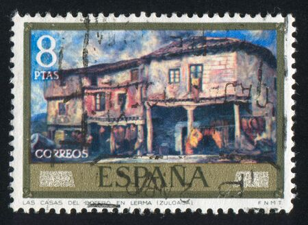 adeptness: SPAIN - CIRCA 1971: stamp printed by Spain, shows Botero Lermas Houses (Zuloaga), circa 1971 Editorial
